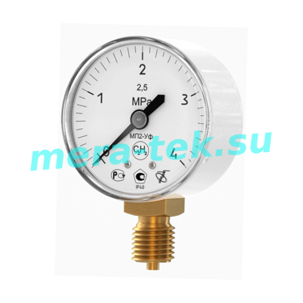 МП2-Уф 50мм (0...4,0) МПа кл.2,5 Манометр ацетиленовый, корпус Ф50мм, белый, IP40, радиальный штуцер М12х1,5